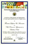 Community Development Commission - Certificate of Recognition - 