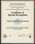 U.S. Dept. of State & U.S. Dept. of Housing and Urban Development - Certificate of Special Recognition - Clark Terrace Senior Apartments