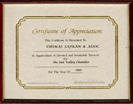 Sun Valley Chamber - Certificate of Appreciation