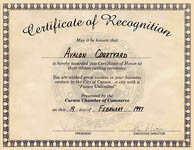 Carson Chamber of Commerce - Certificate of Recognition - Avalon Courtyard