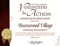 The City of La MiradaVolunteers in Action  - Certificate of Appreciation - 