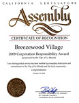 California State Assembly - Certificate of Recognition - 