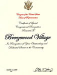 Certificate of Special Congressional Recognition - Breezewood Village
