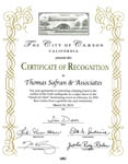 City of Carson - Certificate of Recognition