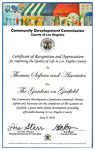 Community Development Commission - Certificate of Recognition and Appreciation - 