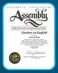 California Legislature Assembly - Certificate of Recognition - 
