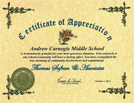 Andrew Carnegie Middle School - Certificate of Appreciation