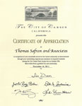 City of Carson - Certificate of Appreciation