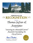 California State Assembly - Certificate of Recognition