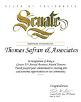 State of California Senate - Certificate of Recognition