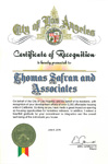 City of Los Angeles - Certificate of Recognition