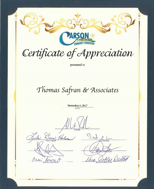 Carson Community Foundation - Certificate of Appreciation -