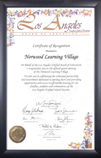 Los Angeles Unified School District - Board of Education - Certificate of Recognition - 