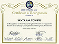 City of Santa Ana - Certificate of Recognition - 