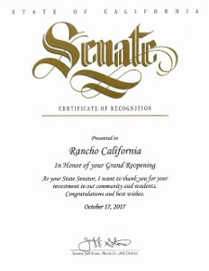 State of California Senate - Certificate of Recognition - 